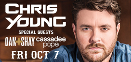 Chris Young, Dan + Shay & Cassadee Pope Oct 7 at Pan Am