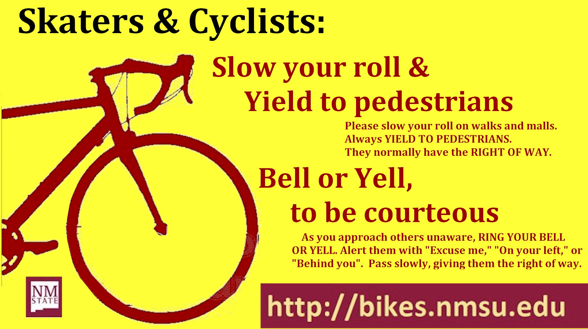slow  roll yield  pedestrians bike safety  mexico state university