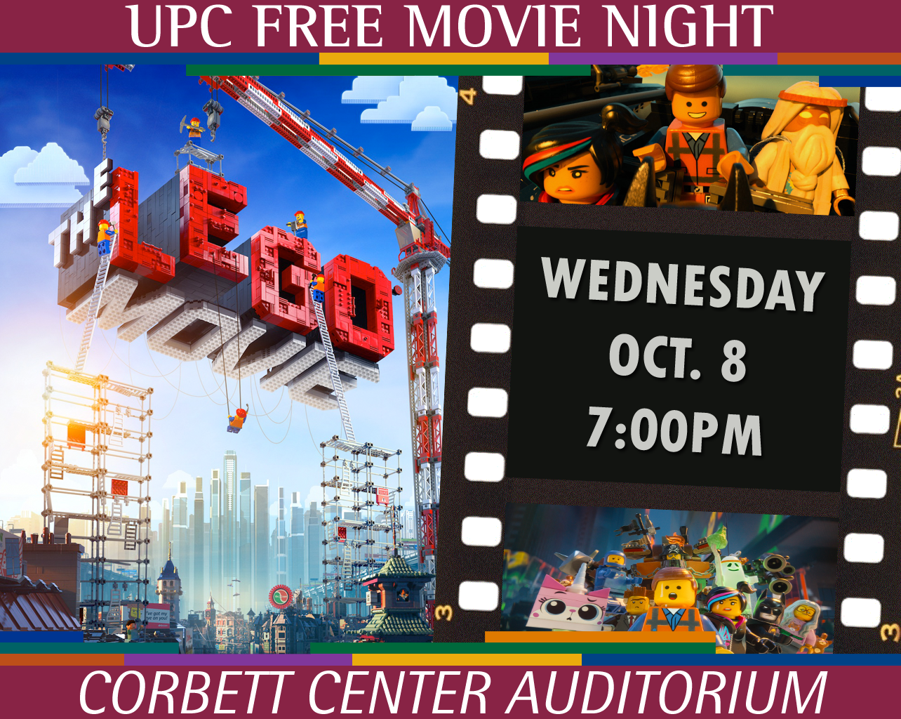 Free Screening of THE LEGO MOVIE 7pm Oct. 8 at Corbett Center Auditorium