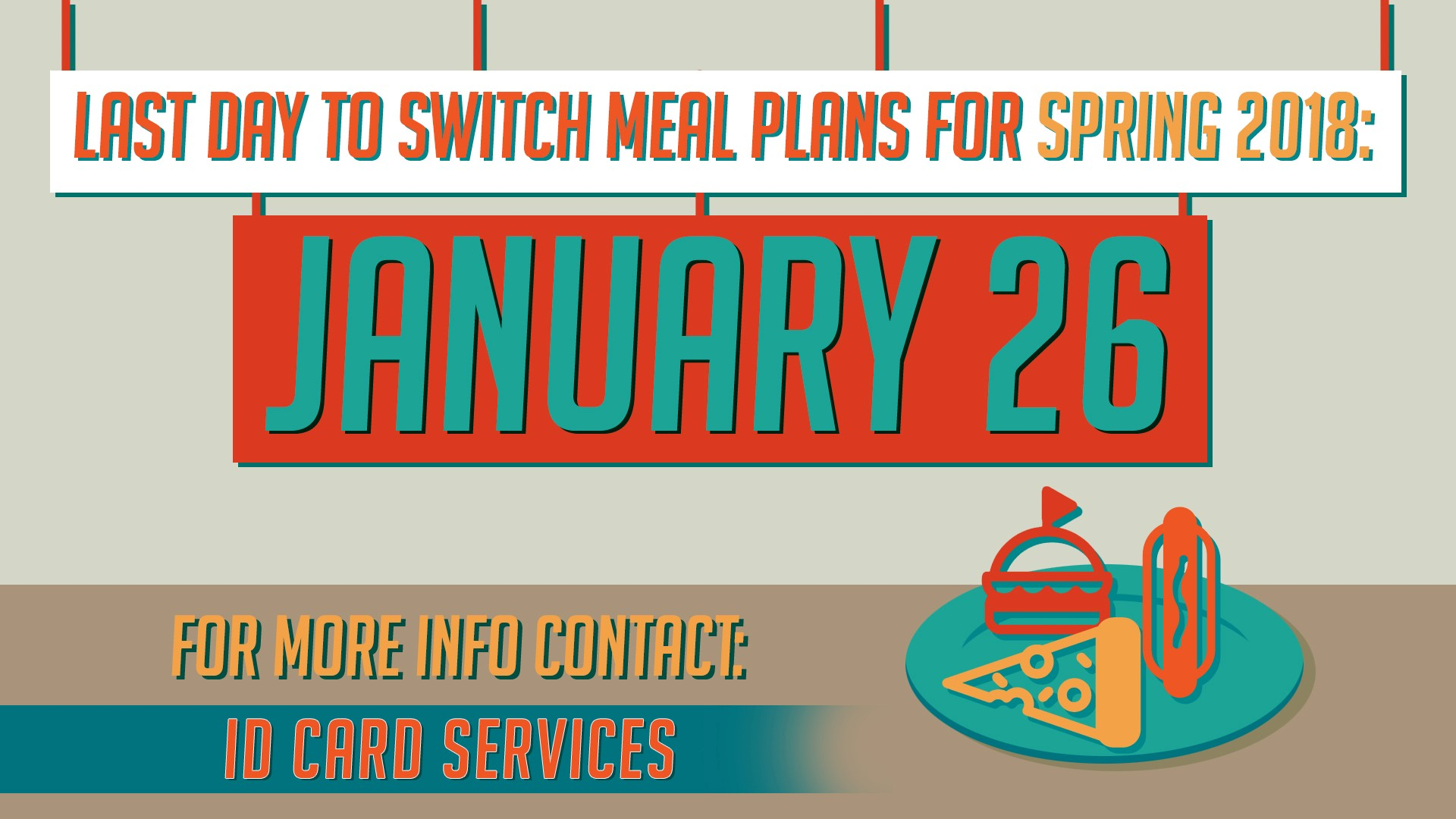 NMSU students wishing to change their Meal Plans may do so before Friday, Jan. 26. After that date, students will be locked-in to their current plan. As different students may have different options, we ask that you contact ID Card Services at 575-646-4835 or idsvs@nmsu.edu to implement the change. You may also stop by the ID Card Services Office in Room 137 of Corbett Center Student Union between the hours of 8 a.m. – 4:30 p.m. Monday-Friday. Please note that ID Card Services will be closed on Monday, Jan. 15, in observance of Martin Luther King Day.