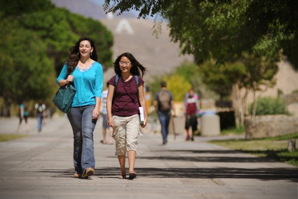 04/29/2014: NMSU students walk up and down the International Mall. (Photo by Darren Phillips)