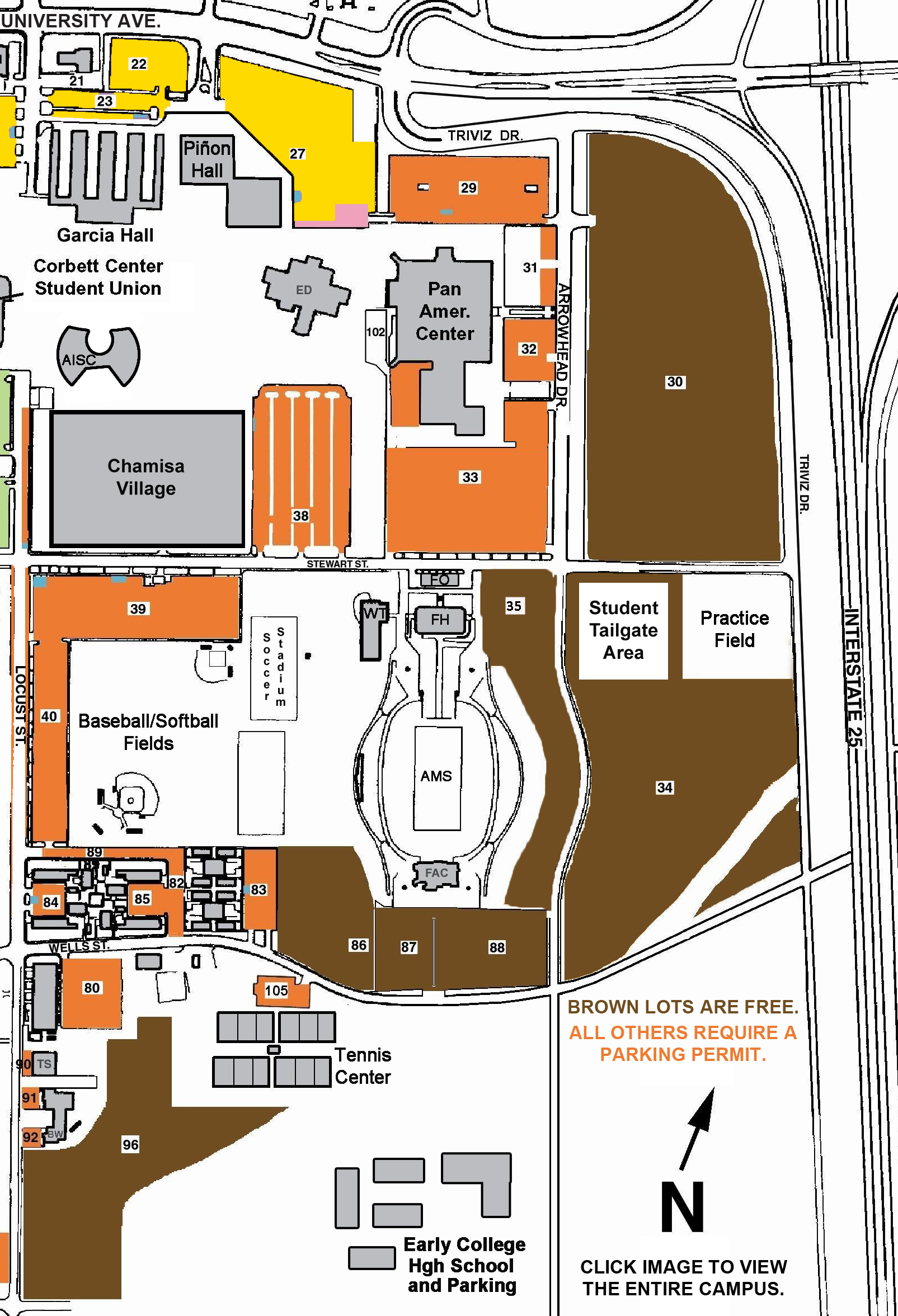 Nmsu Parking Map Parking for Pan Am Center & Aggie Memorial Stadium | Experience
