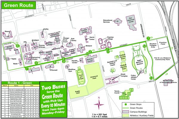 Green Route has stops at Pan Am, Chamisa, Breland, Stewart, Engineering, Knox Hall, O'Donnell and Arrowhead