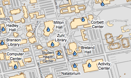 Hydration Stations on New Mexico State University Campus Map
